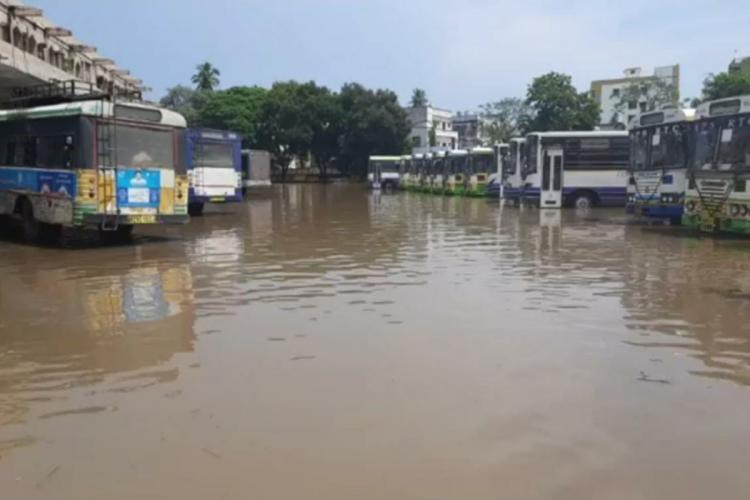 Eluru bus depot with buses submerged up to the tyres in rain water