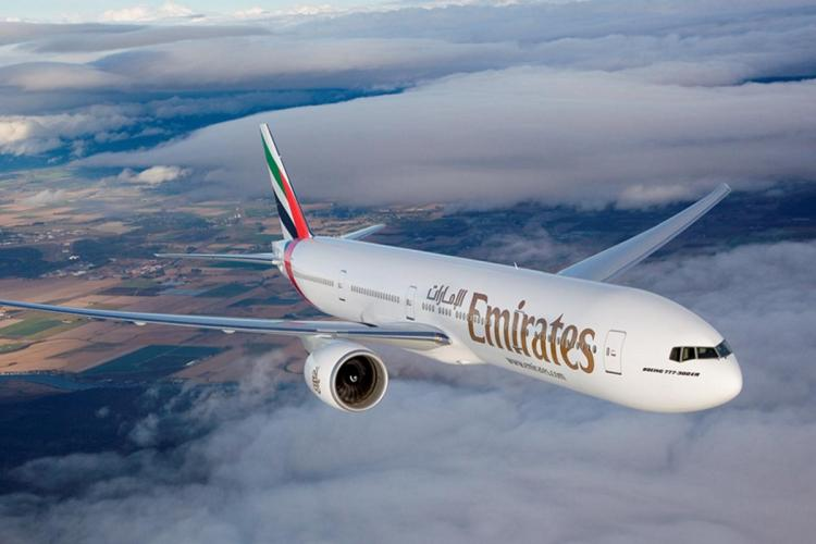 Emirates plane in the air