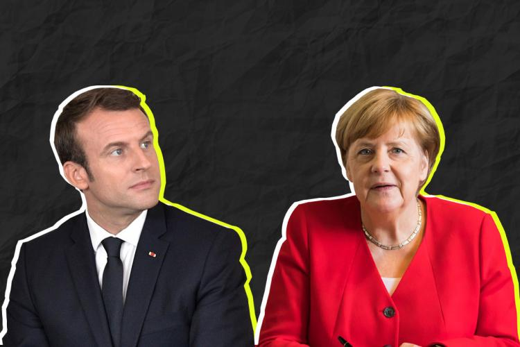 A collage of French President Emmanuel Macron and German Chancellor Angela Merkel