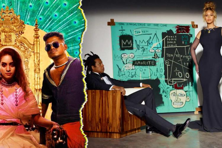 A collage of Dhee & Arivu in Tamil song Enjoy Enjaami, and Beyonce and Jay-Z in recent Tiffany ad featuring Jean-Michel Basquiat's painting Equals Pi