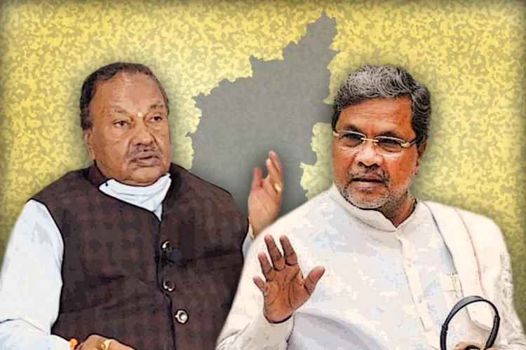 A stylised collage of Karnataka political leaders Eshwarappa and Siddaramaiah against the backdrop of a map of Karnataka