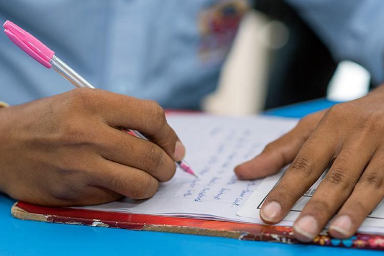 karnataka Police constable KR Manjunath writing sslc exam