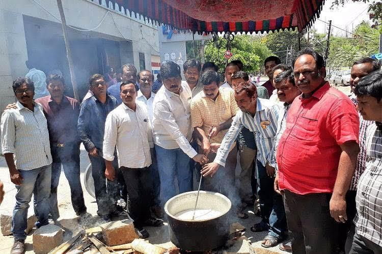Not paid for months no money to live Telugu journos cook outside channel office in protest
