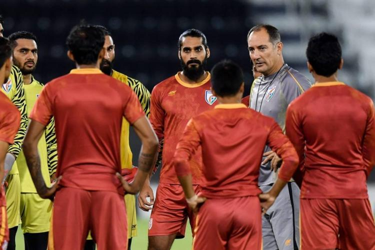 Indias players attend a training session before the FIFA World Cup Qatar 2022 and AFC Asian Cup China 2023 Preliminary Joint Qualification second-round Group E football match between Qatar and India in Qatar on September 9 2019