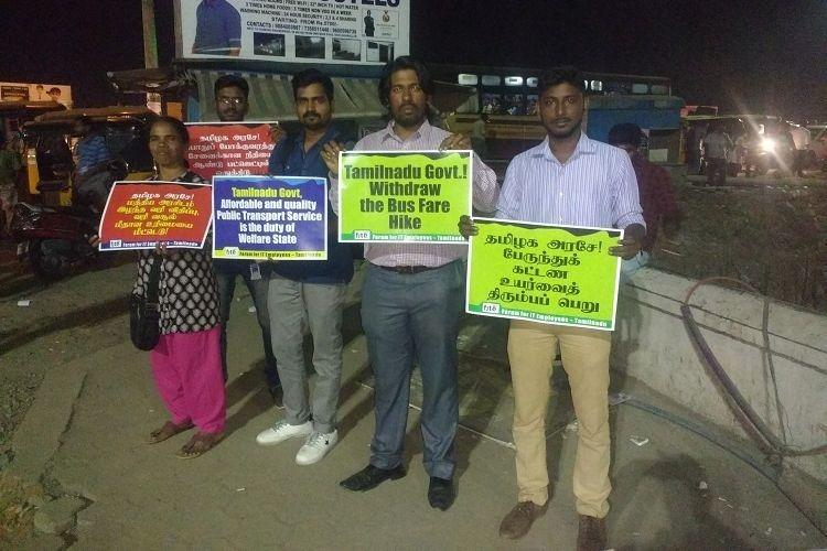 IT union protests TN bus fare hike demands accessible public transport for all