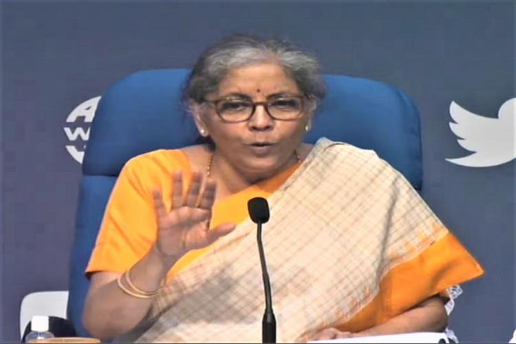 FM Sitharaman at a press conference on Thursday annoucing stimulus package