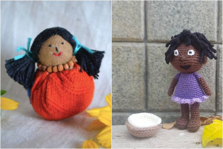 Covida and Malar dolls made using scraps and crochet