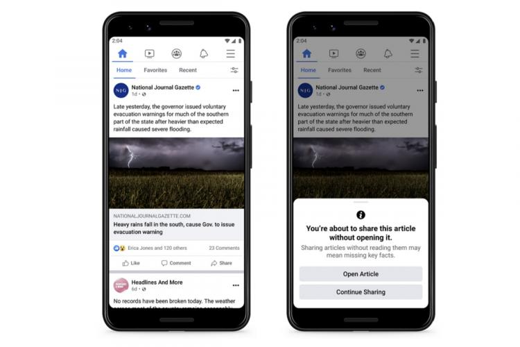 Picture of two phone screens with facebook open first with article and second with prompt asking user to read before sharing