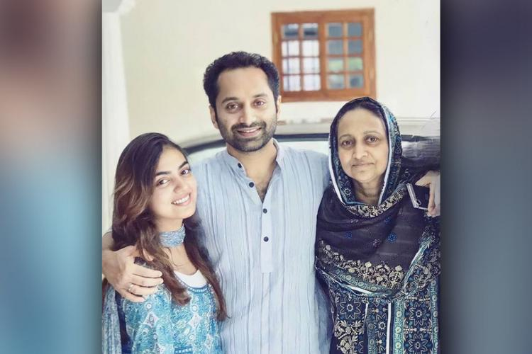 Fahadh Faasil with his mother Rozina and wife Nazriya Nazim
