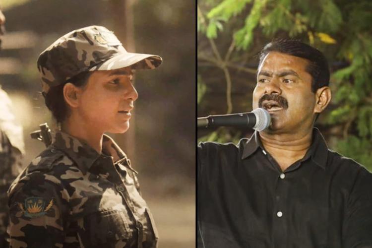Samantha Akkineni as Raji in The Family Man on teh left and NTT leader Seeman on right