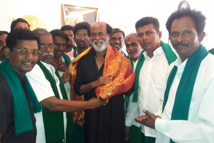 Superstar gets schooled Farmers remind Rajinikanth of his promise to donate Rs 1 cr