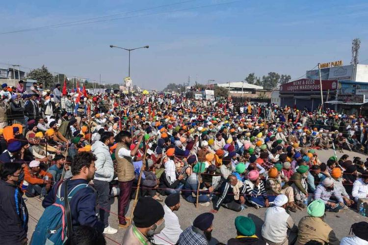 Farmers at Singhu border during their ongoing protest march Delhi Chalo against Union governments new farm laws on November 29