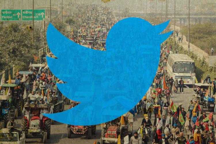 A Twitter logo on an image from the farmers protests