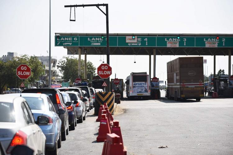 Toll Plaza showing fastag and normal lanes