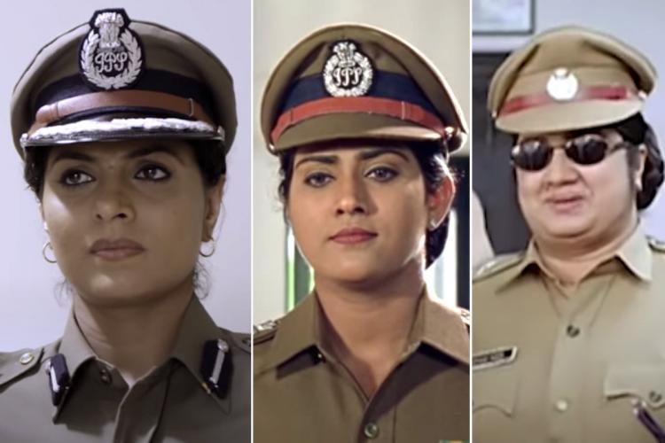 Collage of actors Asha Shareth Vani Vishwanath Kalpana in police roles