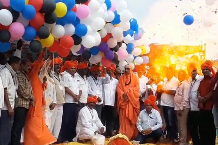 Fire after balloons explode at Mysuru fair 10 including seer sustain minor injuries