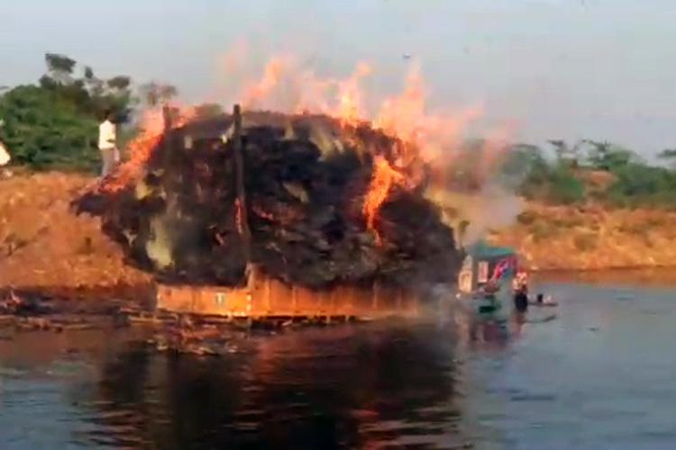 Farmer hero in Bagalkot drives burning tractor into lake stops flames from spreading
