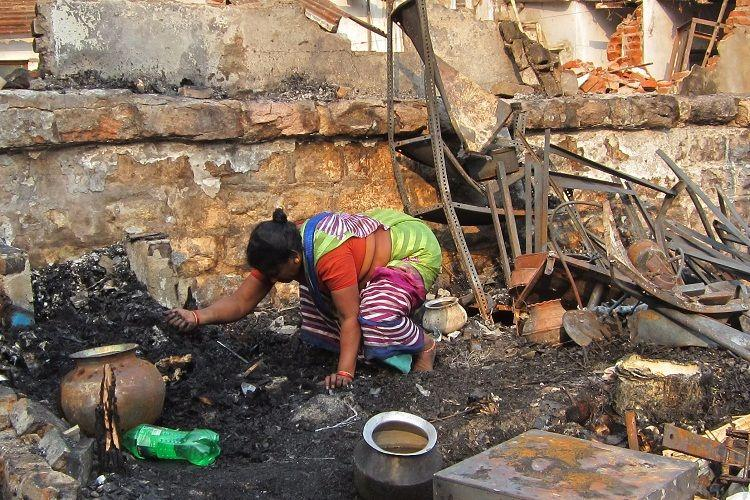 60 huts reduced to ashes after fire breaks out near Hyderabads Exhibition Ground