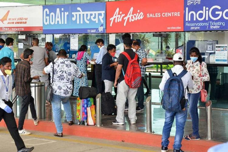 Ticket queue at airline counters