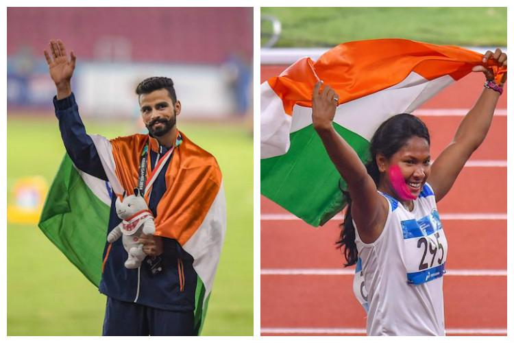 Asiad 2018 India bag 1 gold each in heptathlon and triple jump Dutee gets silver