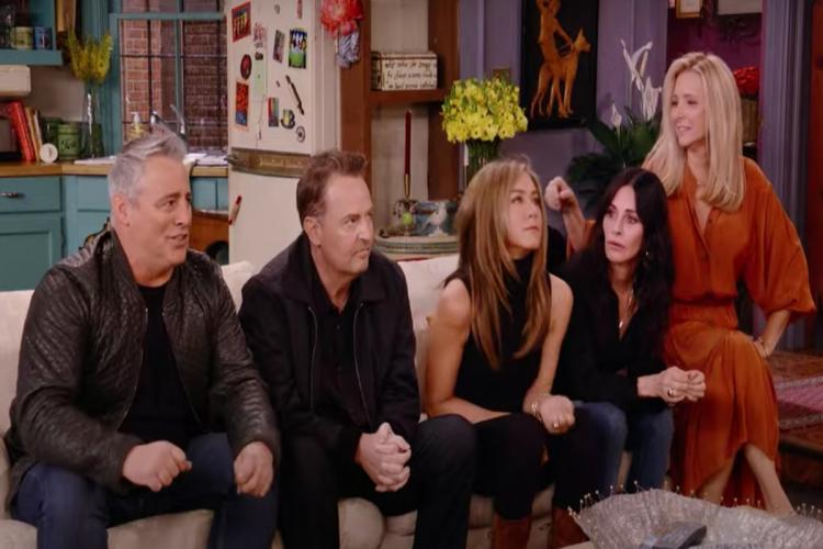 Jennifer Aniston Courteney Cox Lisa Kudrow Matt LeBlanc Matthew Perry and David Schwimmer are seen in the screengrab from the trailer of Friends The Reunion