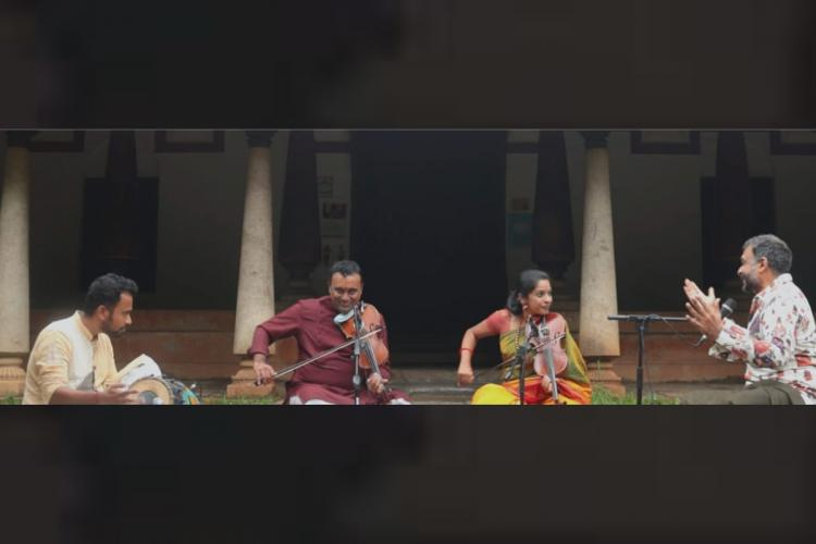 TM Krishnas Friends in Concert showing him with fellow musicians