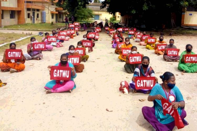 One month after closure of garment factory in Mandya workers continue protest