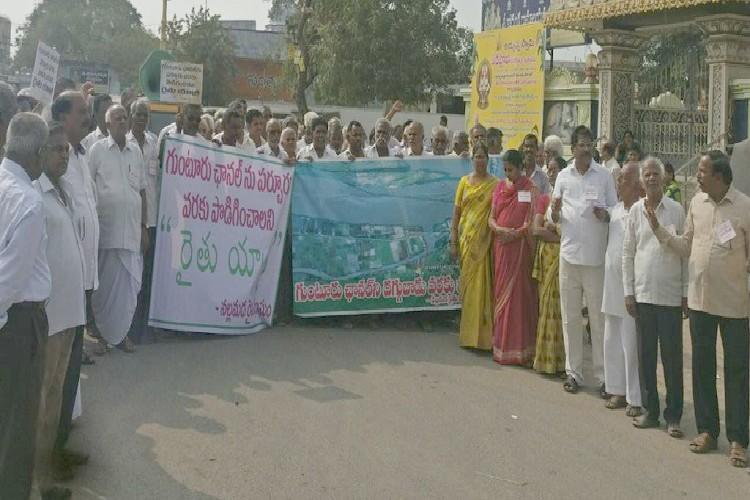 Bring the Krishna to us Farmers from 50 AP villages demand channel be extended
