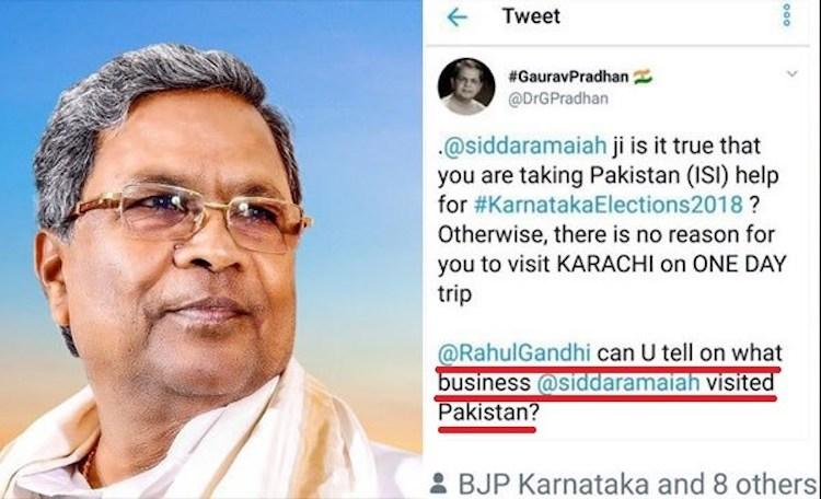 No Karnataka CM Siddaramaiah didnt go to Pakistan or meet ISI