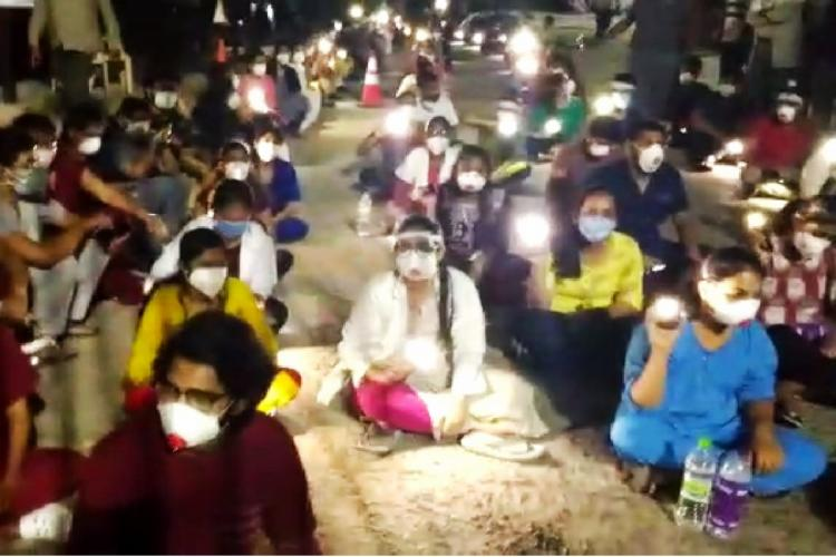 Doctors protest at Gandhi Hospital