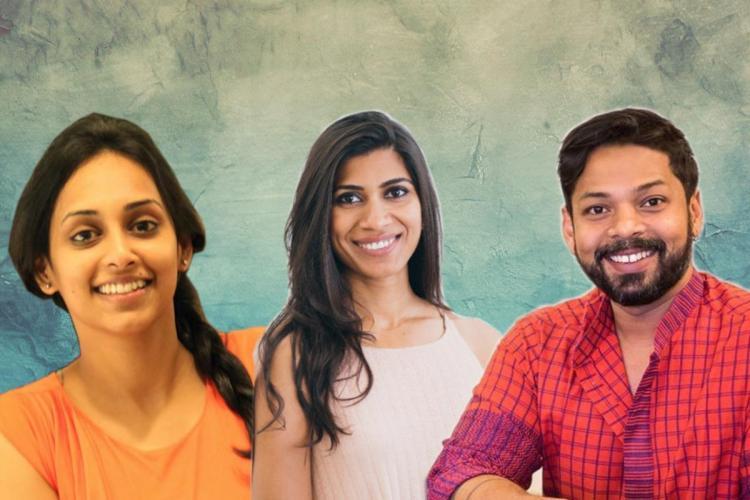 Stylized photo of designers Lakshmi Deepthi Pothineni Mrunalini Rao and Ganesh Nallari