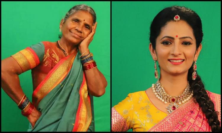 Gangavva wearing a Pattu Saree and Sujatha wearing a half saree were posing for a picture in a collage