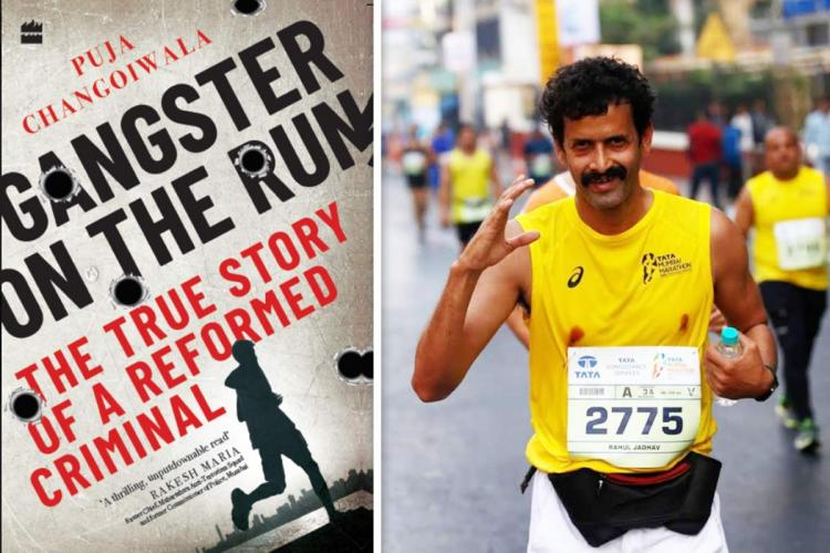 Ultramarathoner Rahul Jadhav and the cover of the book Gangster on the Run