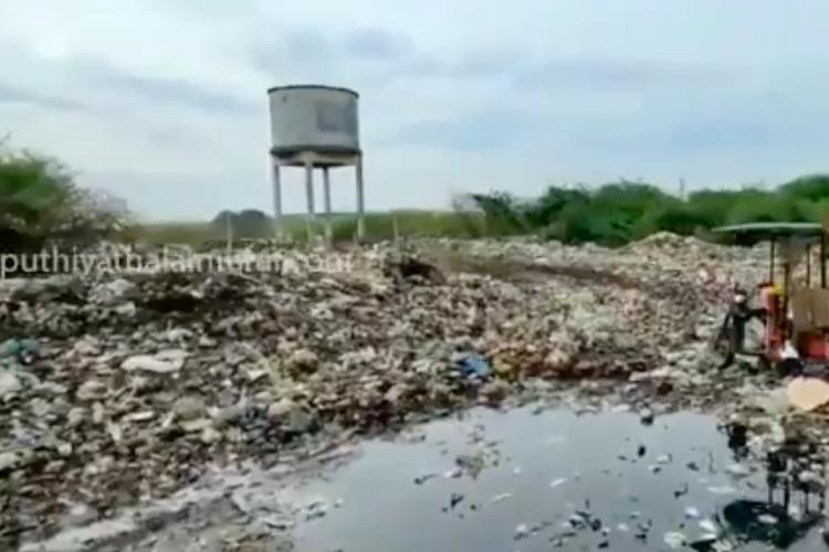 Garbage dumped in porur lake