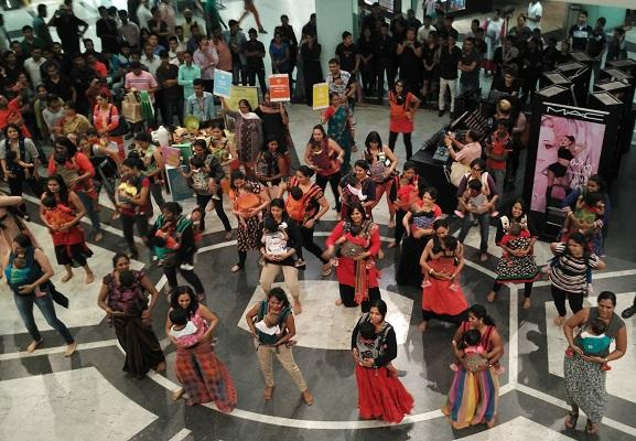 In Bengalurus Garuda Mall a flash mob of moms and babies
