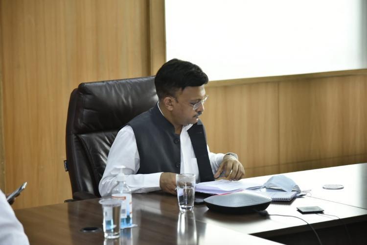 BBMP Commissioner Gaurav Gupta sitting in his office