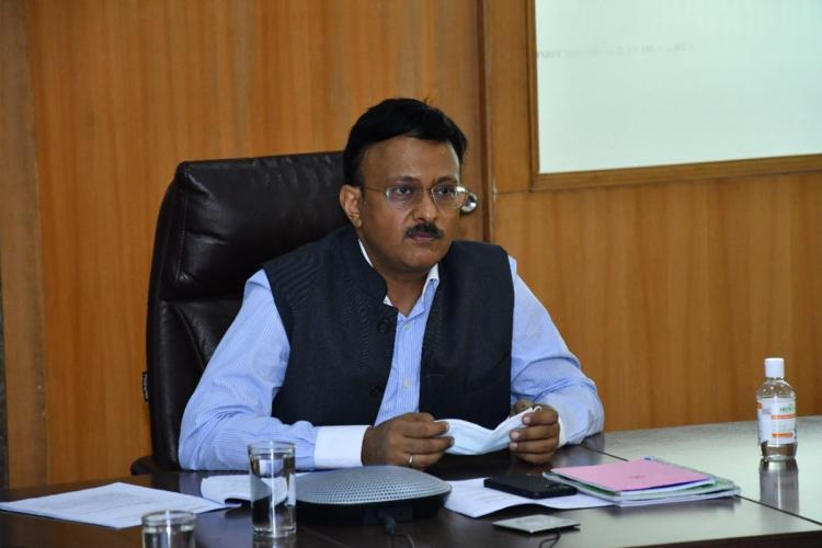 BBMP Chief Gaurav Gupta seated in his office during a meeting