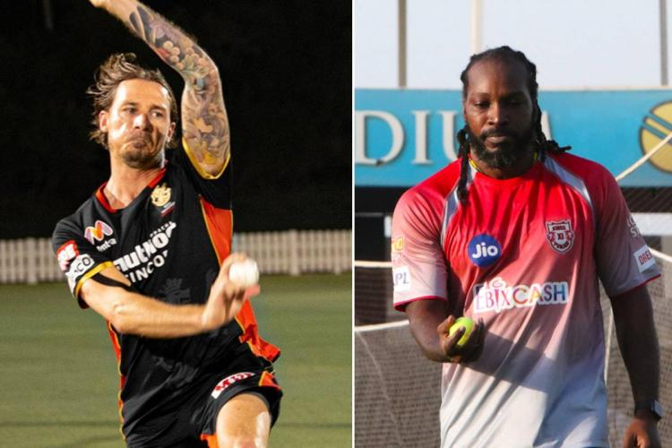 A collage of IPL players Chris Gayle and Dale Steyn
