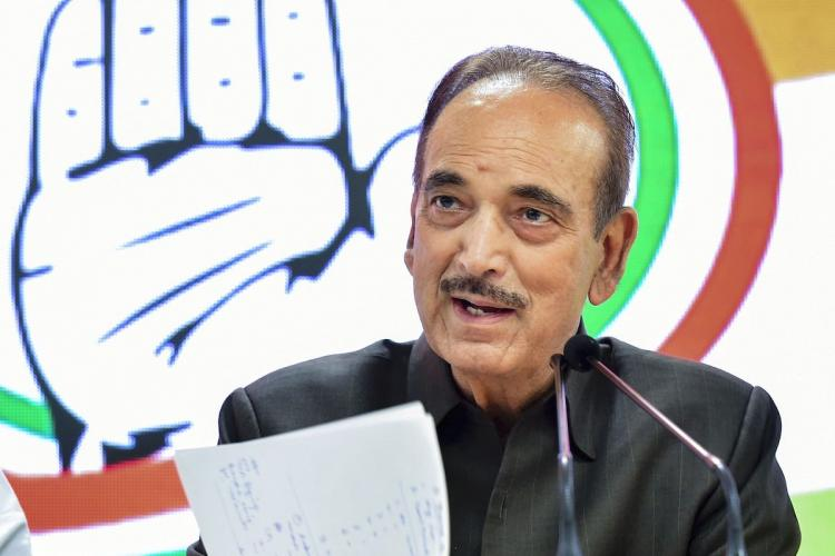 Leader of Opposition in Rajya Sabha Ghulam Nabi Azad addresses a press conference in New Delhi