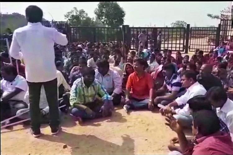 PNB scam Gitanjali employees in Hyderabad stage protest demand alternate jobs