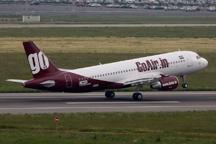A GoAir plane taking off