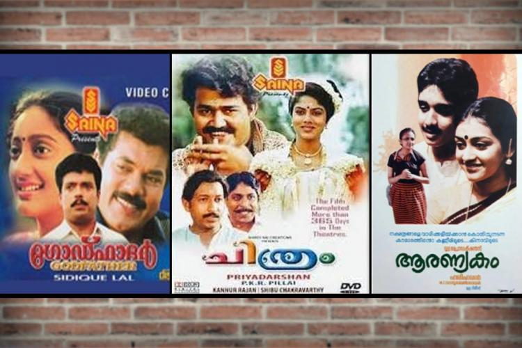 Collage of three malayalam film posters -- Godfather Chithram and Aaranyakam