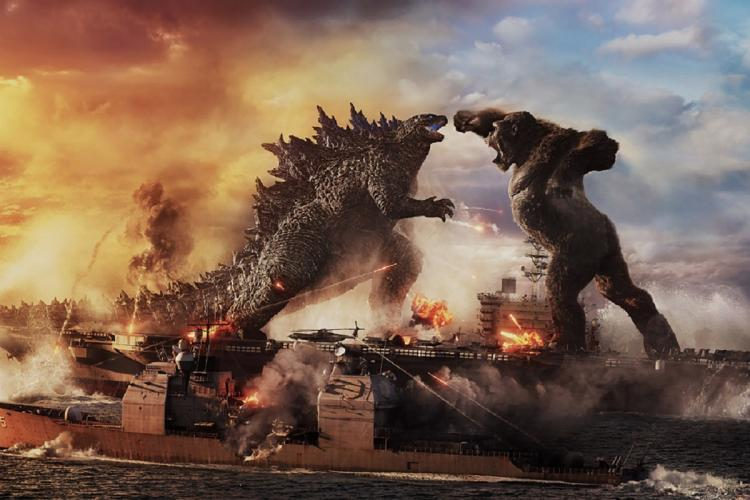 A poster of the film where Godzilla and King Kong are seen fighting