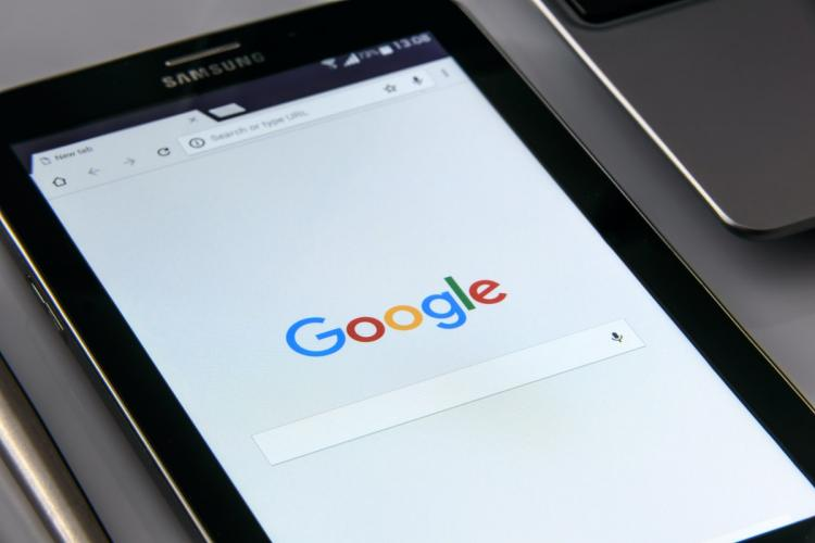 Google search page open on a Samsung tablet