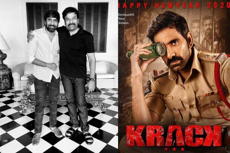 Gopichand Malineni director was seen besideChiranjeevi in black costume and Ravi Teja's Krack movie poster on one side