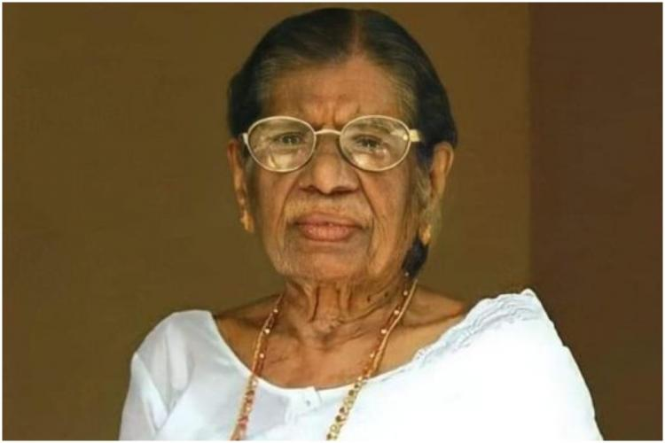 Kerala Communist Leader KR Gouri Amma who died on May 11 in a white dress looking to camera