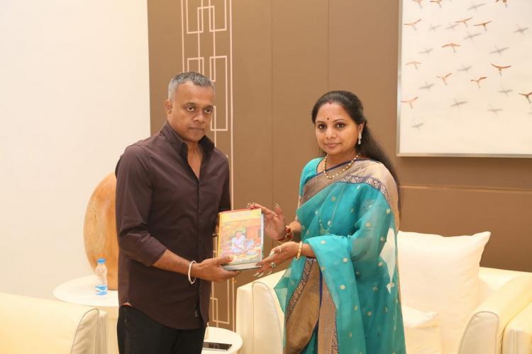 Goutam Vasudev menon and K Kavitha during the launch of Bathukamma song