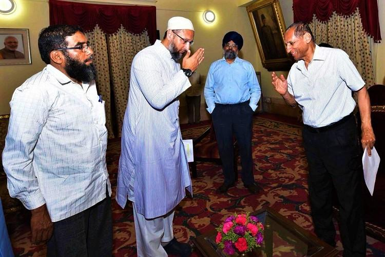 Mecca Masjid case Hyd MP Owaisi meets Governor delegation demands retrial
