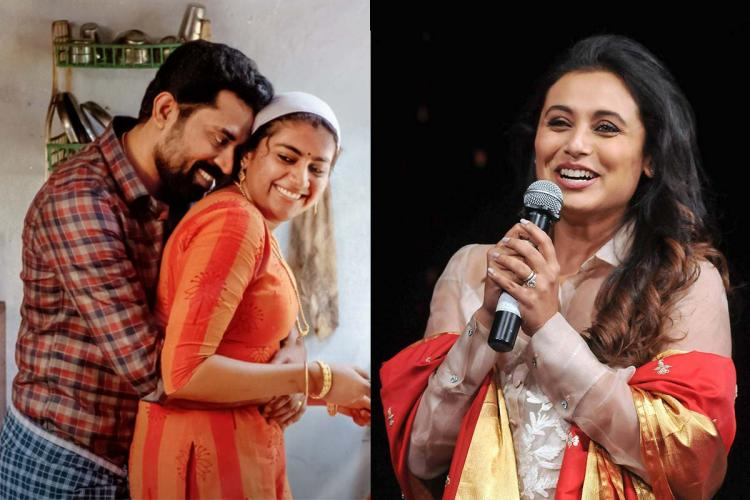 A still from 'The Great Indian Kitchen' on the left and a photo of actor Rani Mukerji on the right.