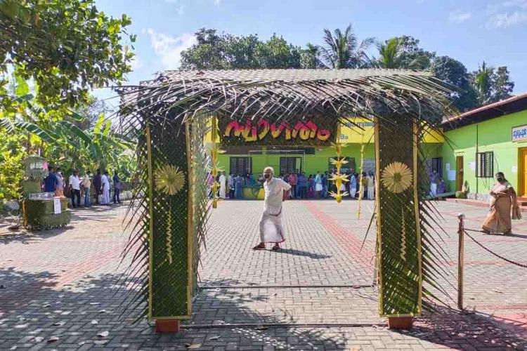 Entrance to green booth in ernakulam polling station